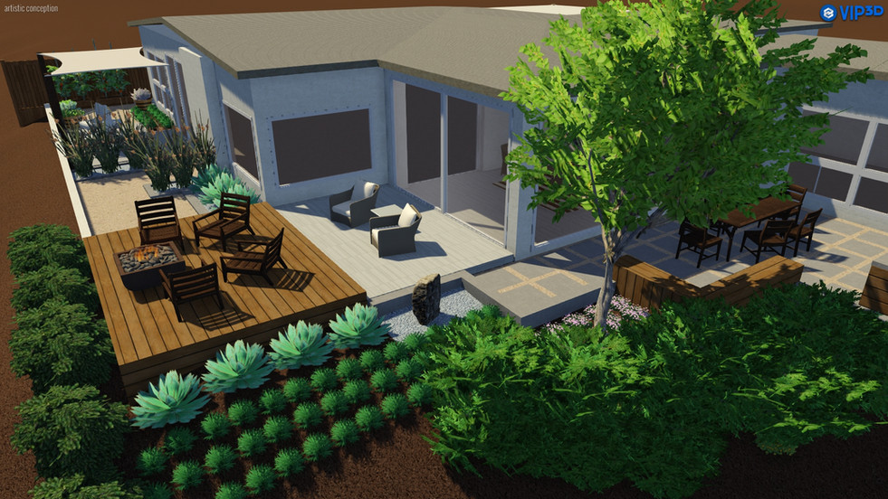 Modern yard with deck and raised benches