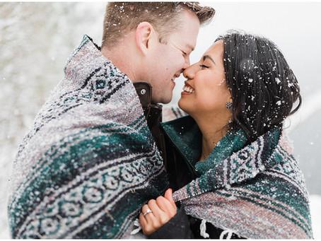 Snowy Coeur d'Alene, Idaho Engagement Session