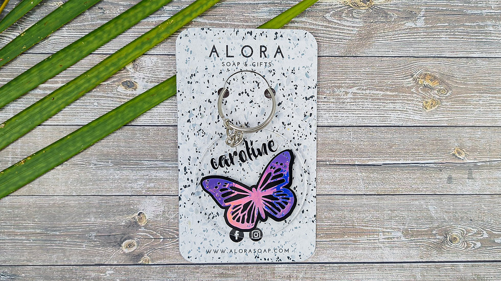 Holographic Butterfly Key chain