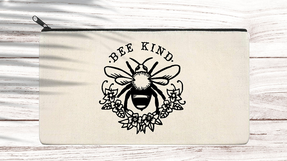 Cotton Pencil/Makeup zipper bag Bee Kind