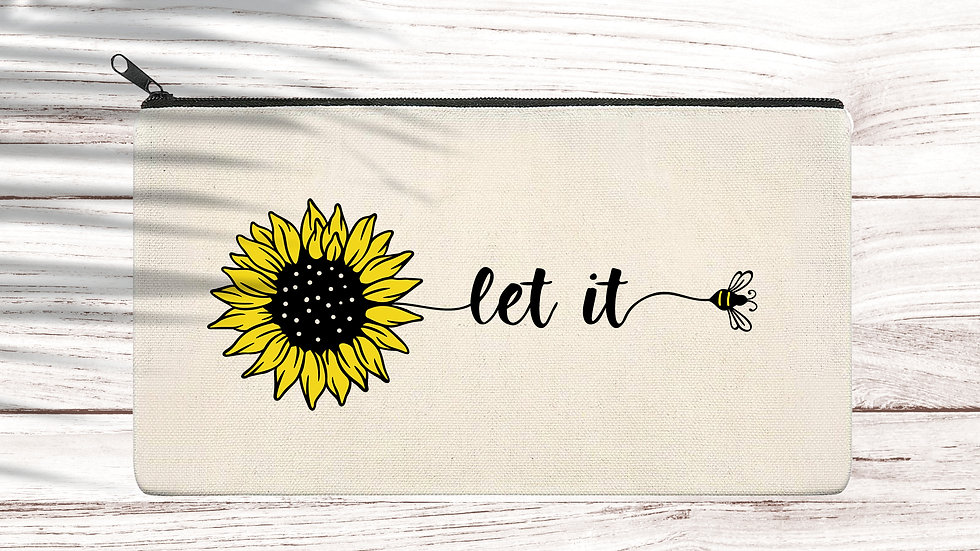 Cotton Pencil/Makeup zipper bag Let is Bee