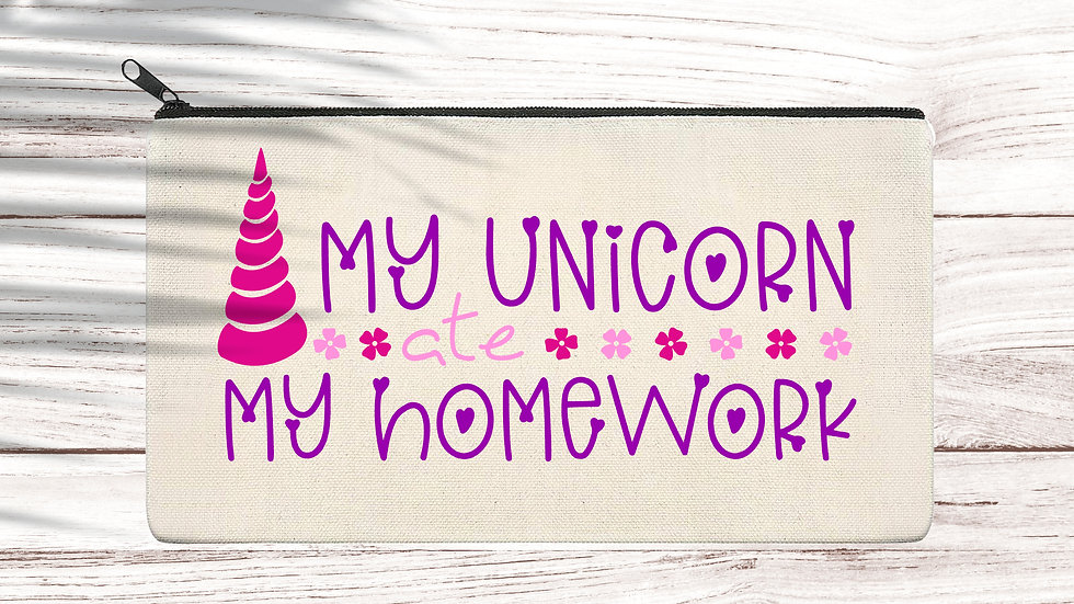 Cotton Pencil/Makeup zipper bag Unicorn ate my homework