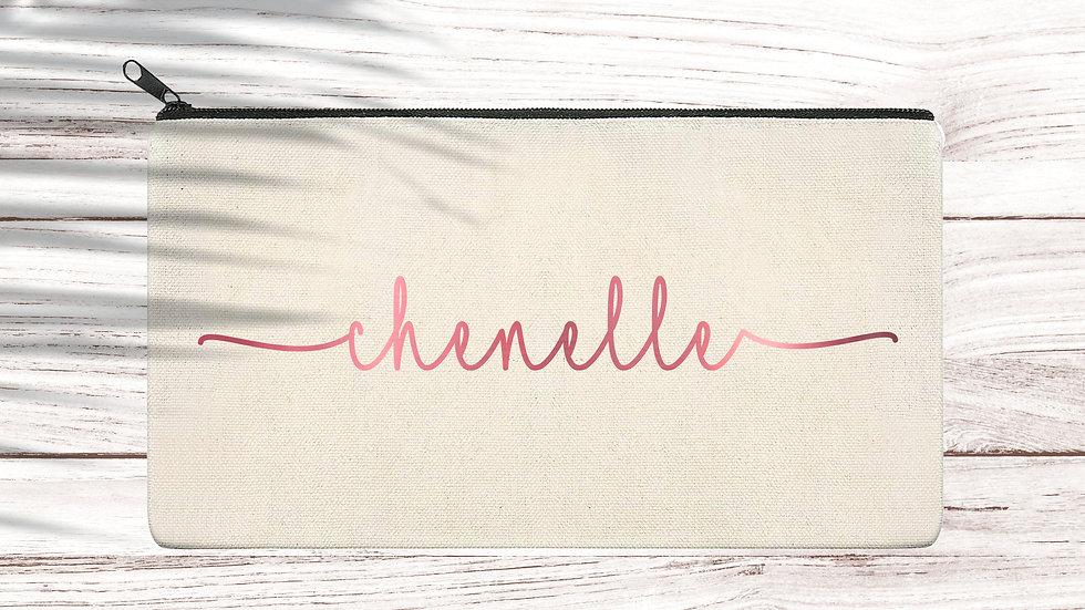 Cotton Pencil/Makeup zipper bag Cursive name