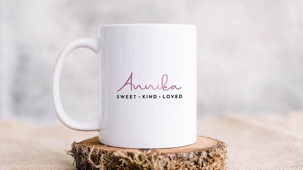 Ladies - Sweet, kind, loved Coffee mug