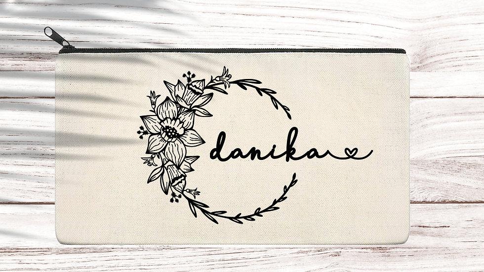 Cotton Pencil/Makeup zipper bag Floral
