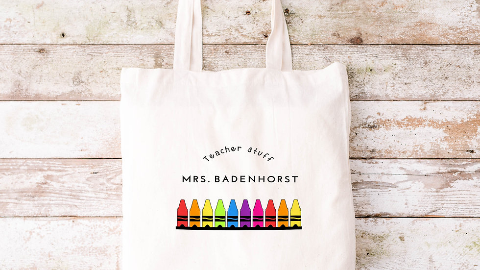 Pure Cotton Crayon Teacher Tote bag