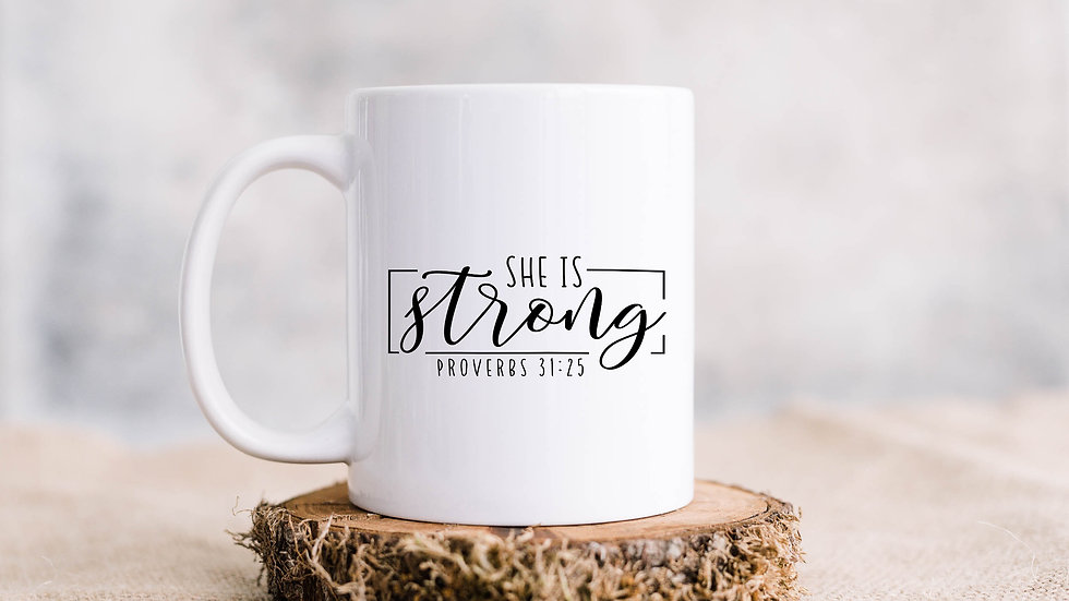 She is strong Coffee mug