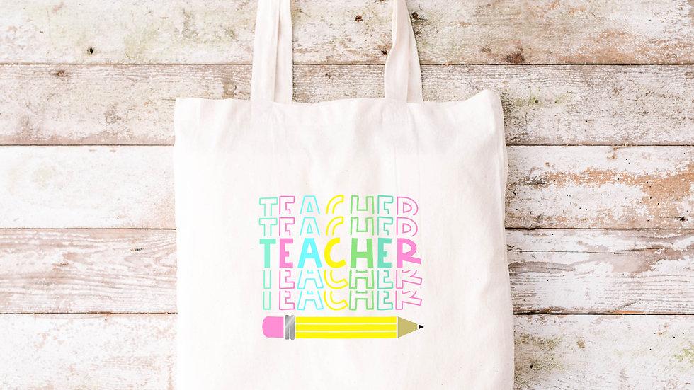 Pure Cotton Teacher Pencil Tote bag