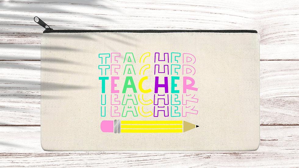 Cotton Pencil/Makeup zipper bag Teacher
