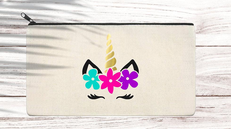 Cotton Pencil/Makeup zipper bag Unicorn