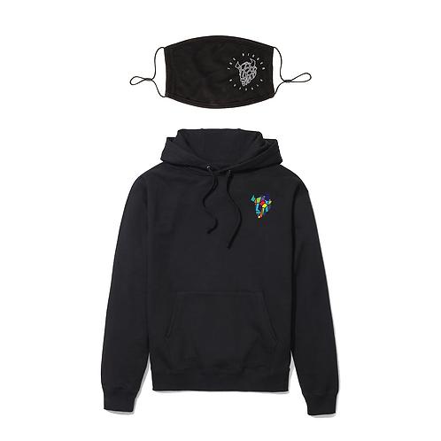 Black Logo Hoodie and Mask Combo