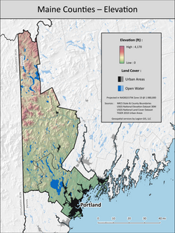 Maine counties elevation