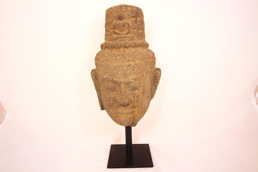 Khmer Head of Avalokiteshvara - H 25.5 cm x W 16 cm - 12th/13th C. - Angkor