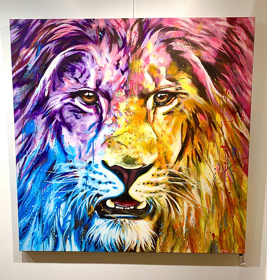SOLD! The Lion Attitude By Nitra -  130 x 130 cm