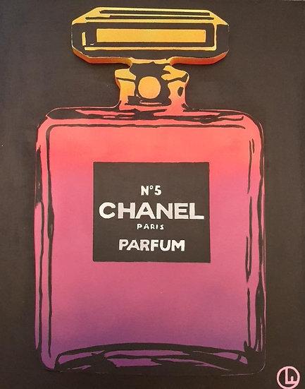 Chanel Bottle (Yellow/Pink/Purple) - 40 x 50 cm - Acryl on wood
