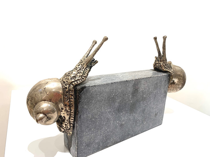 Dinner for two by R. Menten - Verzilverd brons