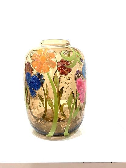Handgeschilderde vaas By Mikka - 29 cm H
