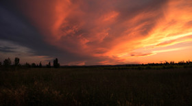 Lanscape in France red sky