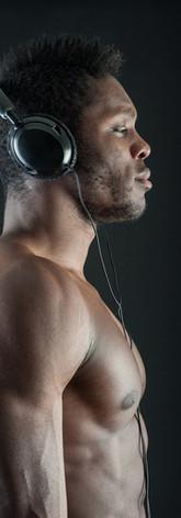 Athlete with earphones