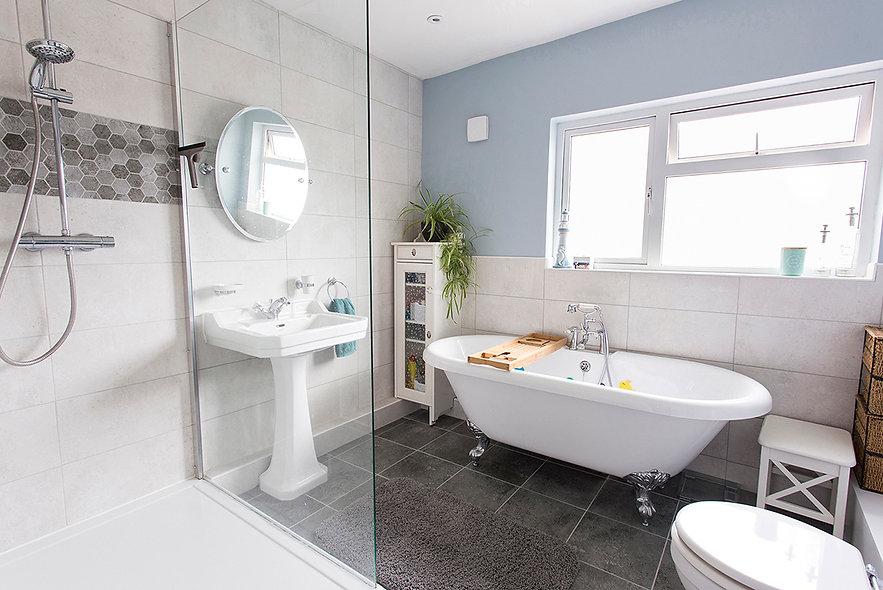weston super mare property photographer, bathroom, roll top bath, grey blue