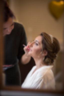 Bridal prep, getting lipstick done