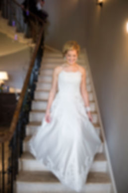 bride, stairs, backwell house, leaving for wedding, wedding dress, happy bride