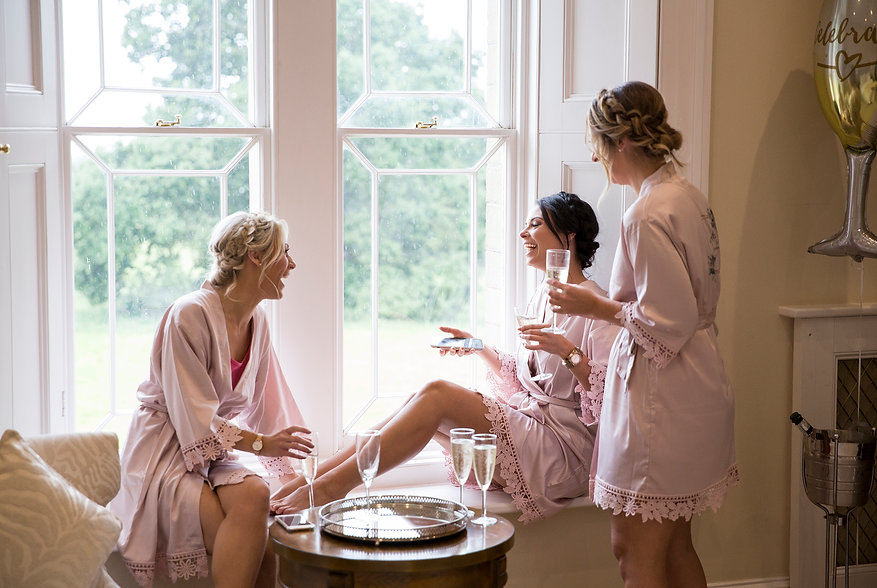 Bridesmaids getting ready, St Tewdrics house