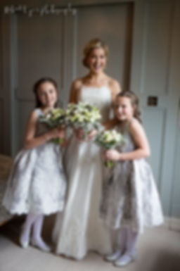 Happy bride and flower girls, wedding bouquet, smiling bride, flower girls