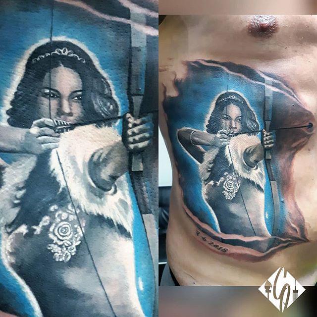 Realistic Tattoo _Archer Woman__#realism
