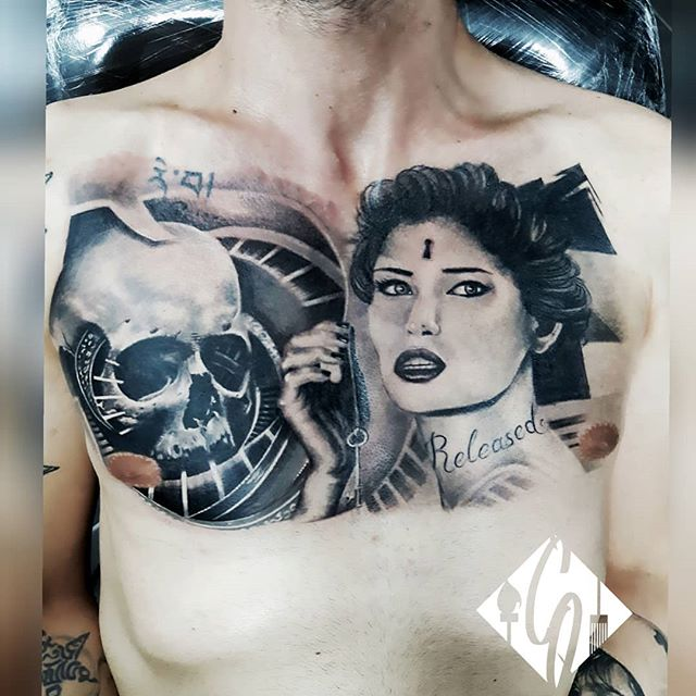Black and Grey Skull and woman full ches