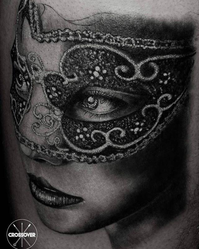 #portrait #woman with #mask #legtattoo #
