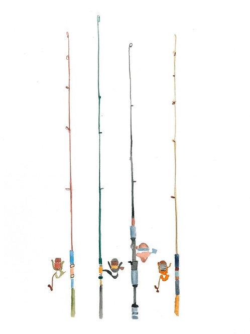 fishing poles watercolor print