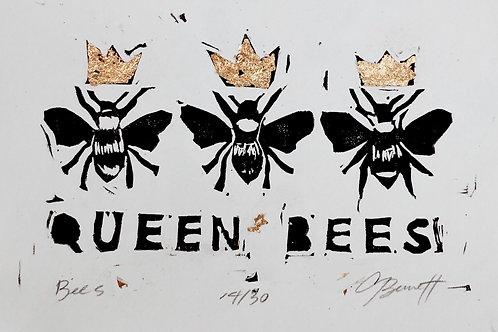 queen bee hand printed linocut