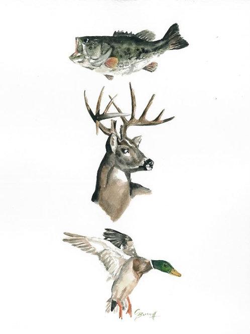 Hunting watercolor print