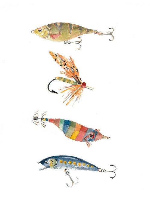 fishing lures watercolor print