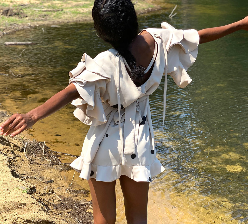 Ruffled sleeve crepe de chine blouse