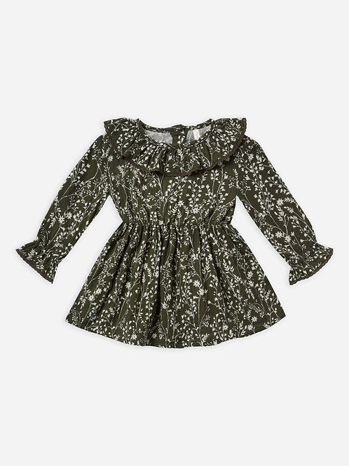 Ruffle Collar Baby Dress | Forest