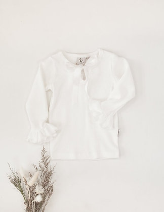 Karibou    Whimsy Ruffle Sleeve Top   Warm White