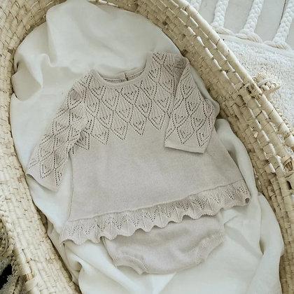LOOM KNITS || lace knit baby dress