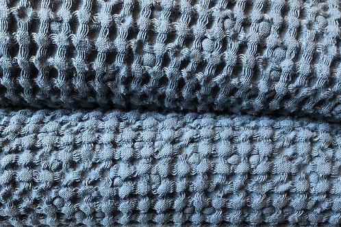 Waffle Linen Blanket | Storm Blue