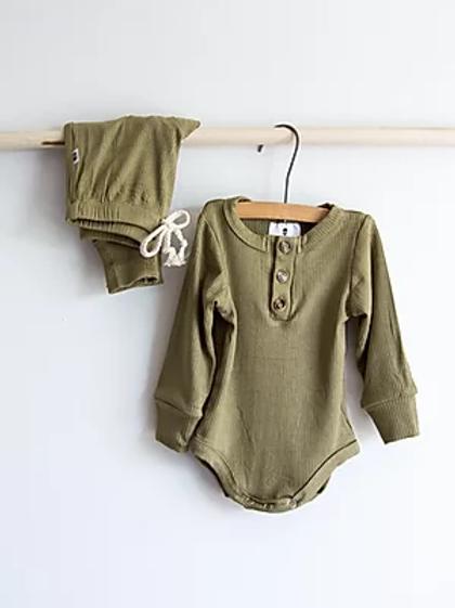 Ribbed Baby Set   Olive