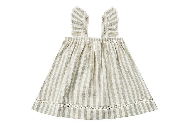 Quincy MAE    Woven Ruffle Dress   sage stripe