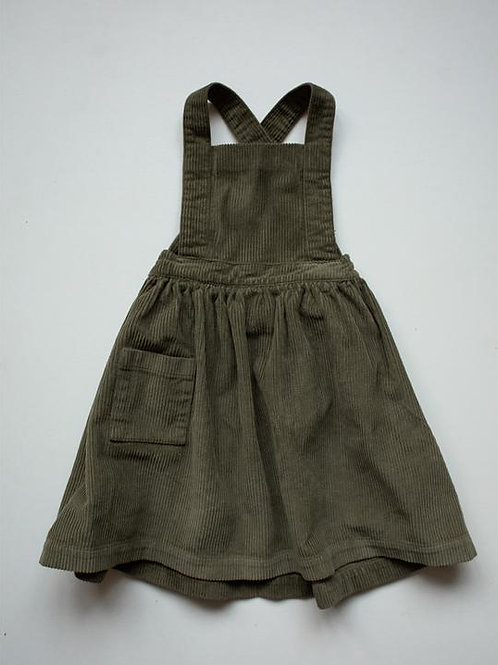 The Corduroy Pinafore Dress | Olive
