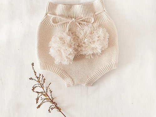 Pom Pom Knit Bloomers | Honey Cream