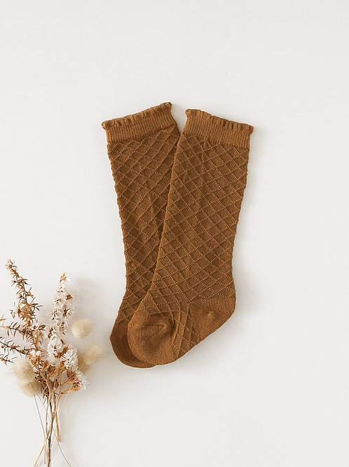 Picnic Knee High Socks | Chestnut