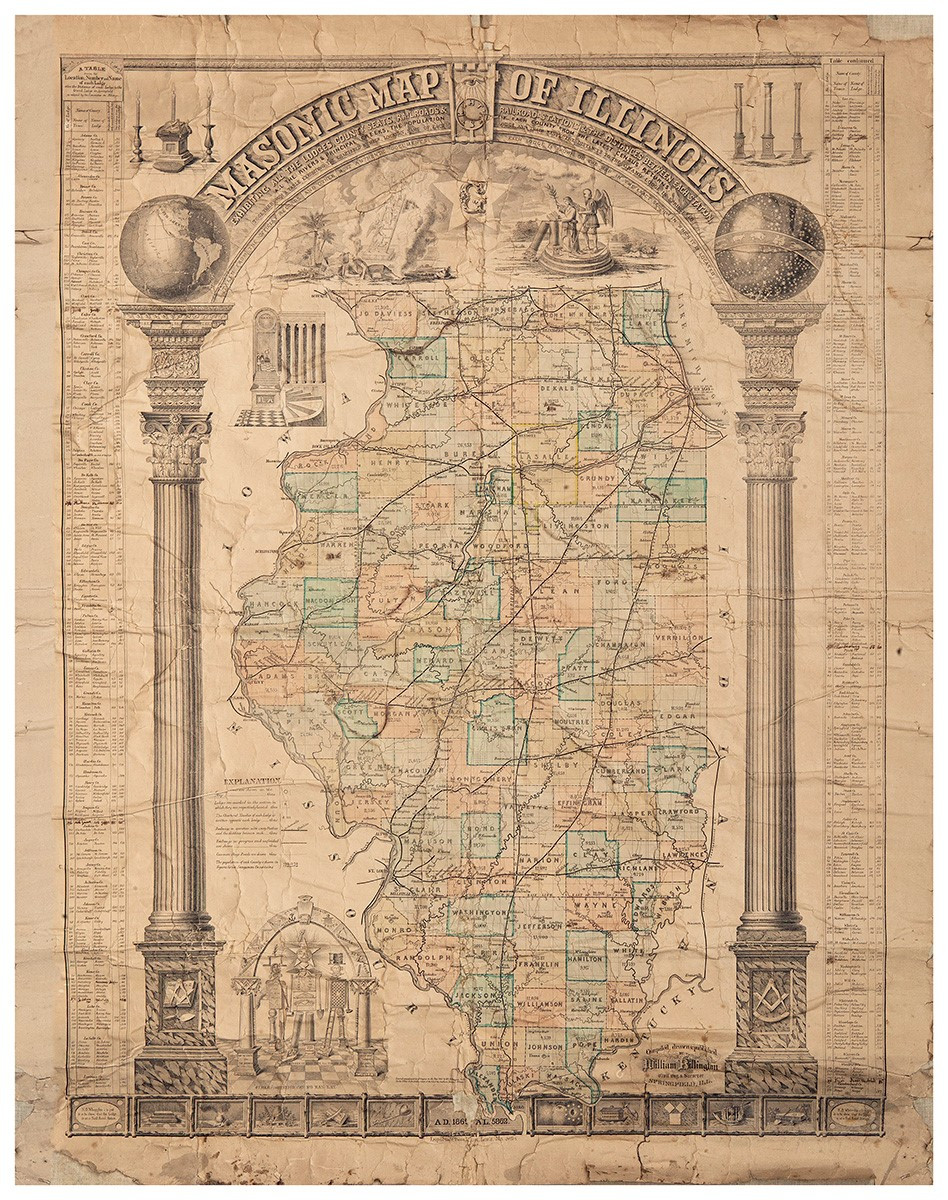 Masonic Map of Illinois compiled, drawn and published by William Billington.