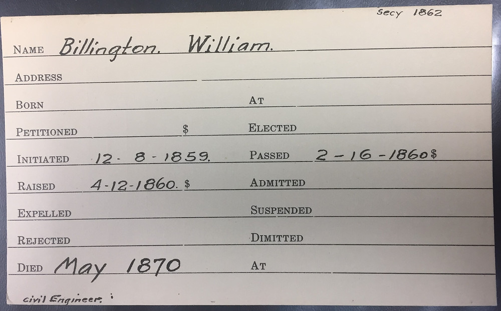 William Billington's record from the Tryian Lodge files.