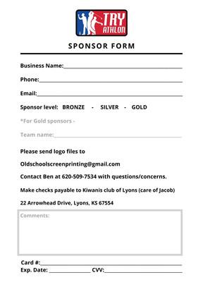 Try-athlon sponsor sign up form