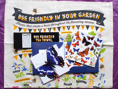 Friends of the Earth Bee Tea Towel and 10 Natural History Museum Notelets