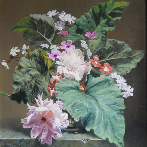 No 18. Peonies and Rhubarb Leaves - Bennett-Oates